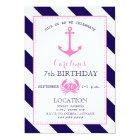 Girl's Nautical Birthday Party - Anchor + Crab Card