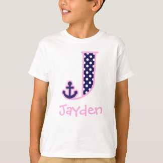 Girls Nautical Monogram Shirt Anchor Letter J