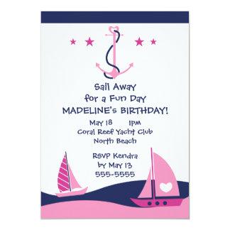 Girls Nautical Party 13 Cm X 18 Cm Invitation Card