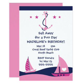 Girls Nautical Party Card