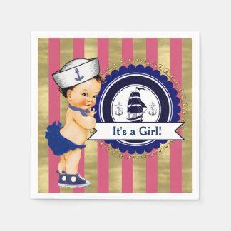 Girls Navy Pink Gold Nautical Baby Shower Paper Napkin