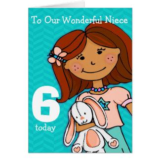 Girls Niece 6th birthday card girlie aqua