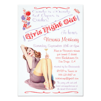 Girls Night Out Candy & Drinks Pin up Invitations