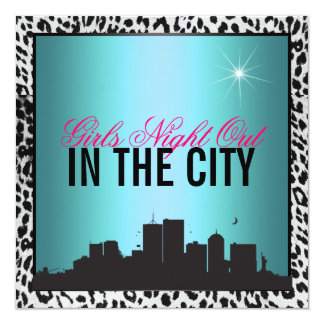 Girls night out in the city 13 cm x 13 cm square invitation card