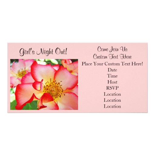 Girl's Night Out! Party Invitations Card Pink Rose Photo Card