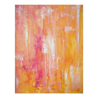 'Girl's Night Out' Pink and Orange Abstract Art Poster