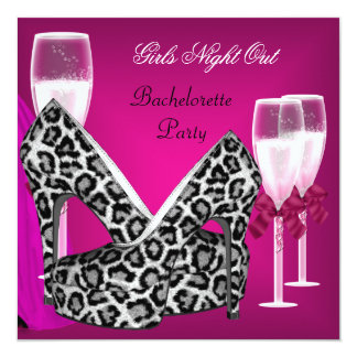 Girls Night Out Pink Shoes Hi Heels Champagne 3 Card