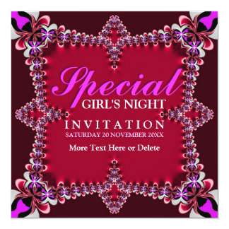 Girls Night Red Hot Pink Party Invitation