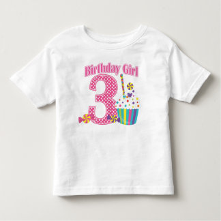 Girls Number 3 Cupcake Birthday T shirt