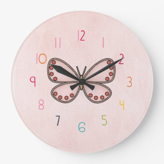 girls numbered  butterfly Clock