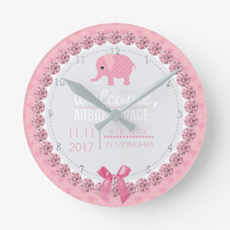 Girls Nursery Pink Elephant | Custom Birth Stats Round Clock