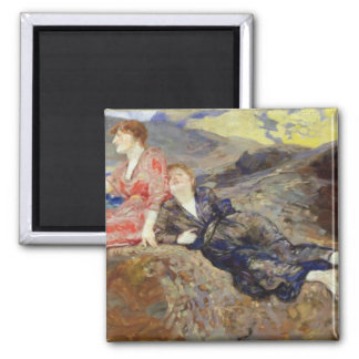 Girls on the Shore, c.1884-85 Square Magnet