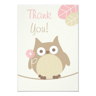 Girls Owl Baby Shower Thank You 9 Cm X 13 Cm Invitation Card