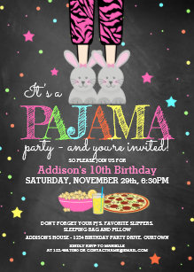 Bunny birthday invitations zazzle girls pajama party birthday invitations filmwisefo