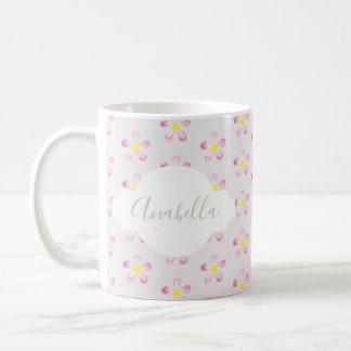 Girl's Pastel Pink Flower Pattern with Name Coffee Mug
