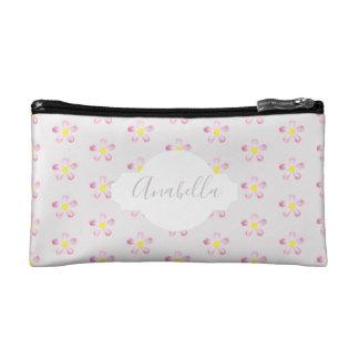 Girl's Pastel Pink Flower Pattern with Name Makeup Bag