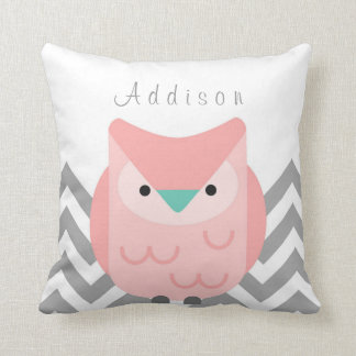 Girl's Personalised Chevron Grey and Pink Owl Throw Pillow