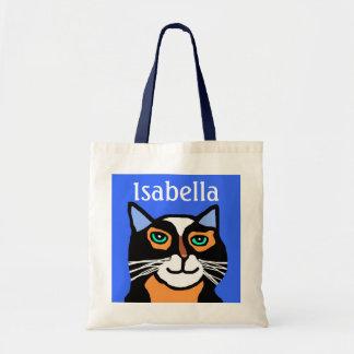 Girls Personalized Blue & Black Cat Tote Bag