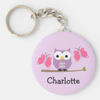 Girls Personalized Owl And Butterflies Key Ring Basic Round Button Key Ring