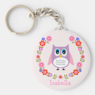 Girls Personalized Owl And Floral Keychain