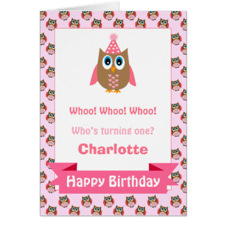 Girls Personalized Owl Birthday Card
