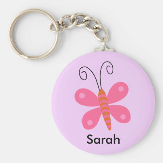 Girls Personalized Pink Butterfly key Chain