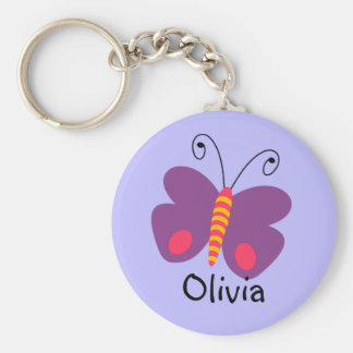 Girls Personalized Purple Butterfly Key Ring Basic Round Button Key Ring
