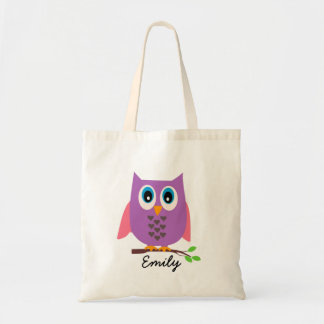 Girls Personalized Purple Owl Tote Bag