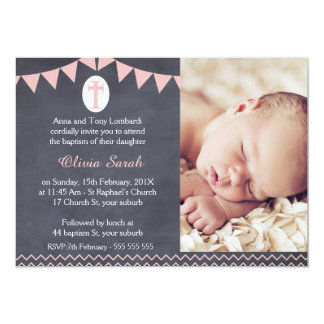 Girls Photo Chalkboard Baptism Invitation