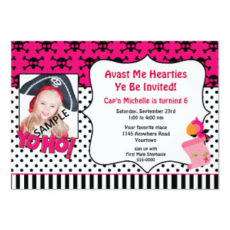 "Girls Photo Pirate Birthday Party Invitation 5"" X 7"" Invitation Card"