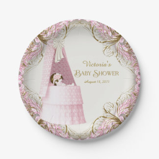 Girls Pink and Gold Bassinet Baby Shower Paper Plate