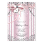 Girls Pink and Grey Pearl First Communion Invitation