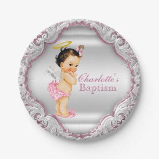 Girls Pink Angel Baptism 7 Inch Paper Plate