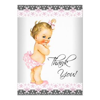 Girls Pink Baby Shower Thank You 11 Cm X 16 Cm Invitation Card