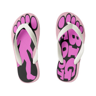 Girls Pink Bigfoot Forest Chasers Kid's Thongs