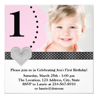 Girls Pink Black Birthday Party Personalized Invitation Cards