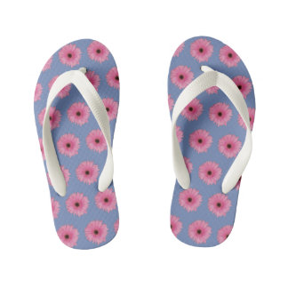 Girls' Pink & Blue Daisy Flip Flops