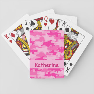 Girls Pink Camo Camouflage Name Personalised Poker Deck