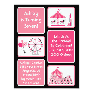 Girls Pink Carnival Party Invitations