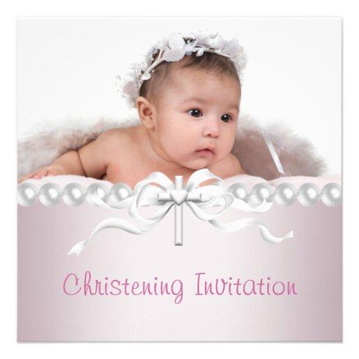 Girls Pink Cross Photo Christening Announcement
