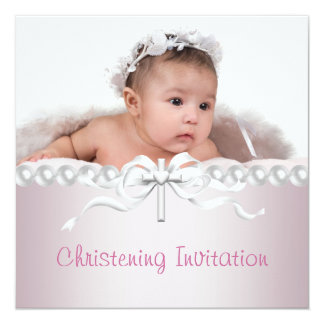 Girls Pink Cross Photo Christening 5.25x5.25 Square Paper Invitation Card