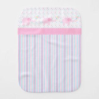 Girl's Pink Elephants Baby Burp Cloths