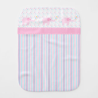 Girl's Pink Elephants Burp Cloth