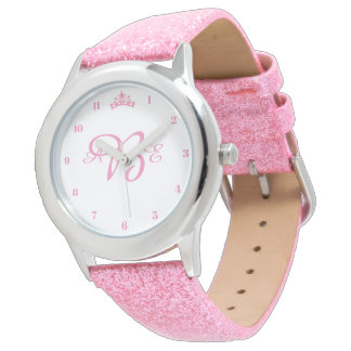 Girls Pink Glitter Tiara Crown Custom Watch