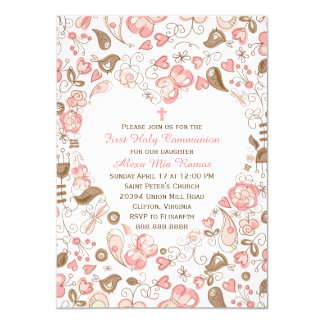 Girl's Pink Heart Floral First Communion 11 Cm X 16 Cm Invitation Card