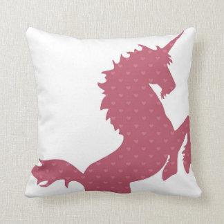 Girls Pink Heart Unicorn Pillow