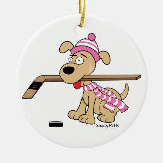 Girls Pink Hockey Cartoon Hockey Dog Christmas Ceramic Ornament