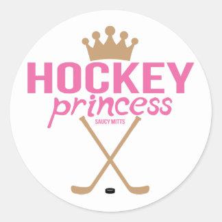 Girls Pink Hockey Princess Round Sticker