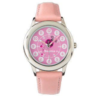 Girls pink ladybug heart white name wrist watch