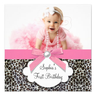 Girls Pink Leopard Birthday Party Custom Announcement